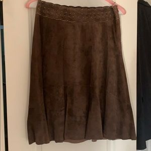 CABI leather/suede brown skirt